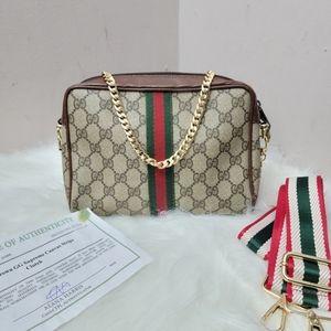 Authentic vintage Gucci web sherry line clutch
